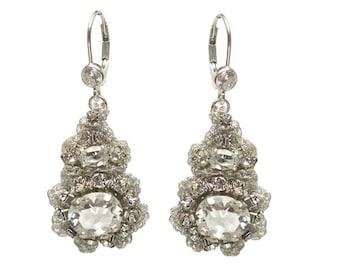 "Silver Crystal Bridal Earrings | Handmade Lace Swarovski Drop Earrings | Woodland Spring Wedding ""Acanthus"""