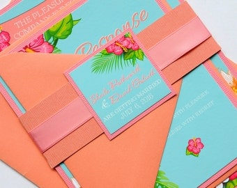 Pink and Coral Flamingo Tropical Hawaiian Invitation and RSVP Beach Destination Wedding Suite