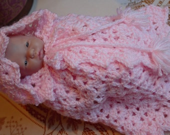 Crocheted outfit for 9.5 inch Doll Mini La Newborn Sleeper romper set Pink Pink Hooded Cape Blanket