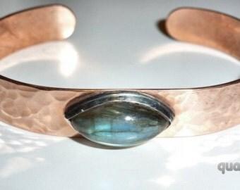 Quattro Accessories - Copper & Gemstone Cuff Bracelet