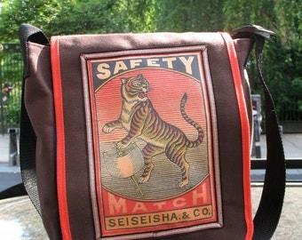 Love Shine Canvas Shoulder Messenger Bag ,Canvas Unisex Courier Daybag with Vintage Safety Matchbook Tiger Design Applique