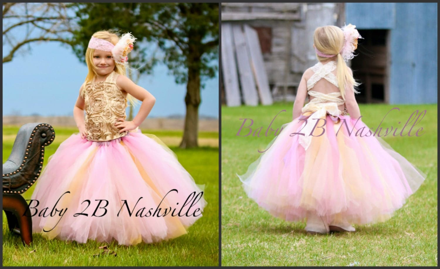 Gold Dress Wedding Dress Flower Girl Dress Satin Rosette Dress