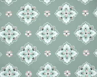 1940's Vintage Wallpaper - Pink White and Green Geometric on Green