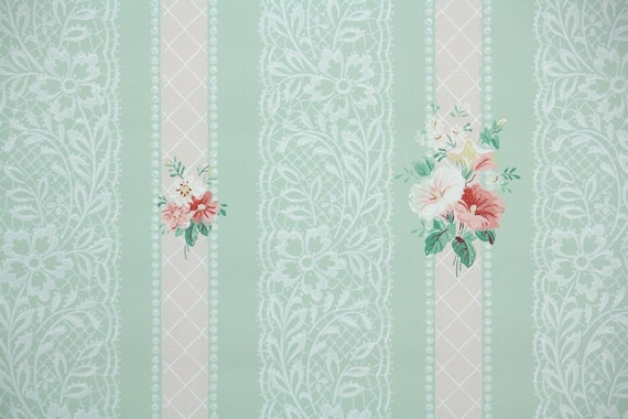 1940s vintage wallpaper pink flowers on pastel green with pink lace stripes from - Pastel lace wallpaper ...