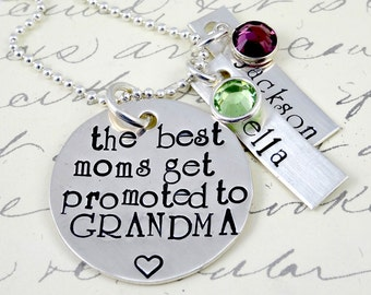 Grandma Nana Necklace - Best Moms Get Promoted - Hand Stamped Sterling Silver Grandma Jewelry