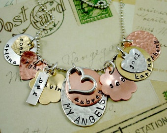 HandStamped Personalized Necklace FAMILY FOREVER II Sterling Silver Hand stamped Jewelry Moms Grandmas Children Pets