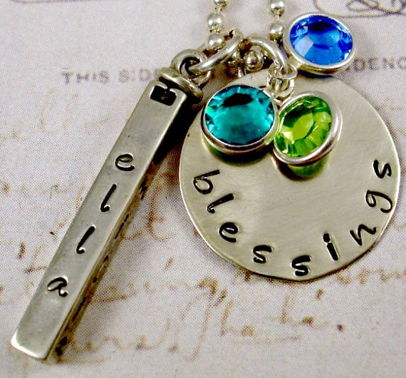 Hand Stamped Family Blessings Necklace Mom Grandma Jewelry 4-Sided Swivel Bar Sterling Handstamped