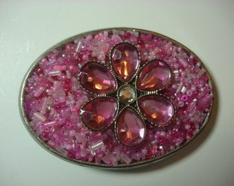 Girl's Belt Buckle - Pink Flower
