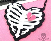 DEADLY LOVE - White, Pink and Black Ribcage Necklace in Laser Cut Acrylic