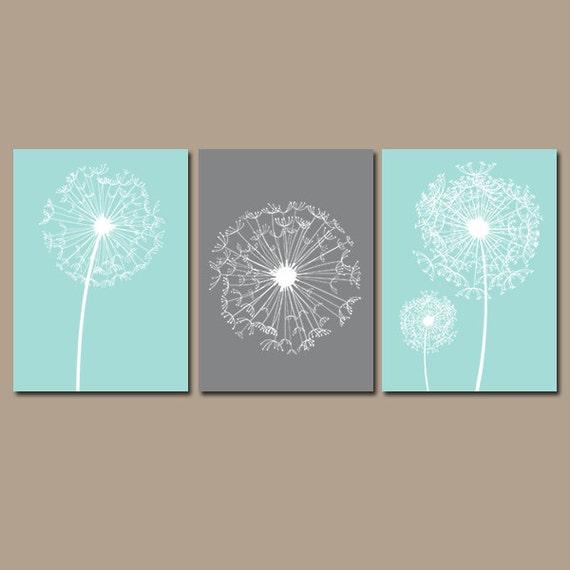 Flower Wall Art Canvas Or Print Kitchen Wall Art Bedroom: DANDELION Wall Art CANVAS Or Prints Flower Aqua Gray Custom