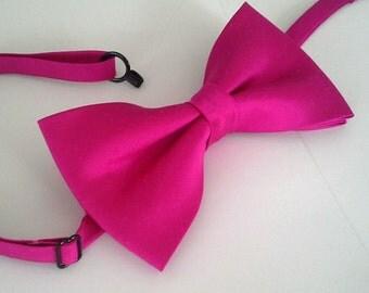 Agnes fuchsia pink dupioni silk bow tie