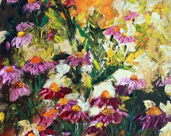 Impressionist Palette Knife Oil Painting Purple Coneflowers by Ginette