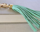 Leather Tassel Keychain Mint and Gold Key Chain Mint Leather Tassel Gold Key Ring Modern Keychain Gift Under 20 Boho Keychain Leather Fringe