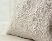 Felted Cushion Cover, Wool Pillow, White Pillowcase, Felt Texture, 12x20, 16x16, 18x18 inch, Holiday Decor