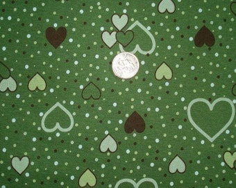NEW  green hearts on cotton rib knit fabric