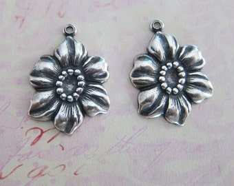 2 Silver Flower Charms 2618