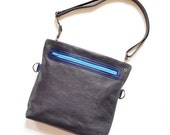 Small Leather Crossbody Bag, Foldover Crossbody Clutch, Leather Purse, Small Shoulder Bag, Handbag, The Abby Satchel in Dark Slate Grey