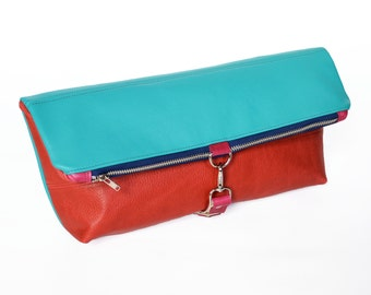 Foldover Clutch / Oversized Leather Clutch / Toiletry Travel Bag - The Lulu Foldover Clutch in Hot Pink and Teal