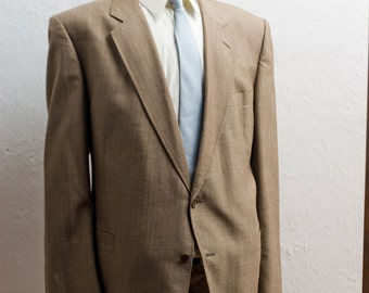 Men's Suit / XXL Vintage Pinstripe Blazer / Brown Jacket and Trousers/ Size 50