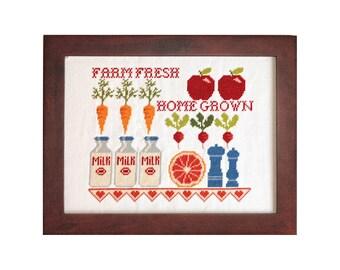 Farm Fresh Milk Bottles Cross Stitch Pattern Instant Download