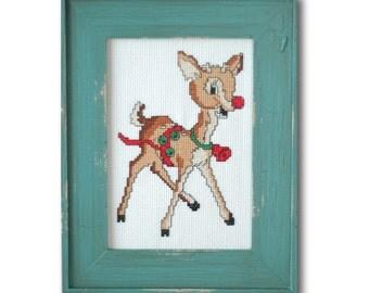Retro Rudolph Cross Stitch Pattern Instant Download