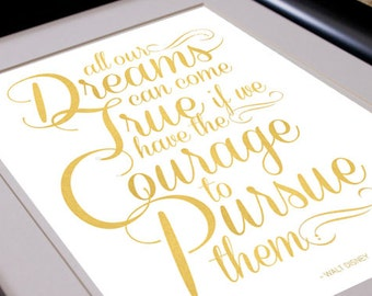 Dreams and Courage - Inspirational Typographic Art Print