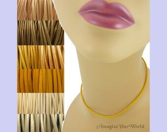 Custom Yellow LEATHER Cord Necklace up to 24 inches long - choose shade, diameter, length, clasp color - 1.5 mm,  2 mm or 3 mm