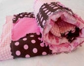 Rag Quilt, Baby Rag Quilt, Crib Bedding, Pink Quilt, Baby Bedding - Ready Made