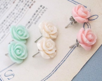 Pink, Mint Green, Cream Peach Roses. Bridal Wedding Floral Light Pastel Earring Stud. Stainless Steel Ear Accessories Everyday Wear
