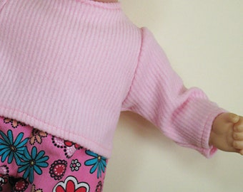 Bitty or Twin Doll Clothes - Pink Flowered Corduroy Pants and Pink Fleece Sweater