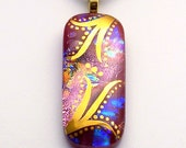 Safe and Secure - Dichroic Fused Glass Pendant Hand Painted in 22k Gold