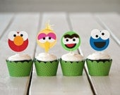 The Sesame Collection - Custom Cupcake Toppers and Their Wraps from Mary Had a Little Party