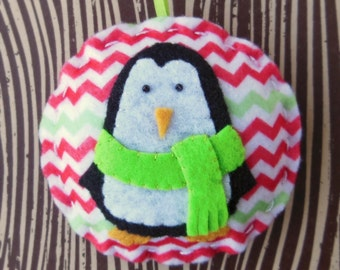 Felt Penguin Christmas Ornament - Cozy Winter Penguin No. 1 - SALE