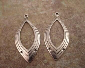 4 silver ox art deco  open oval 3 loop chandelier hoop charm 35mm