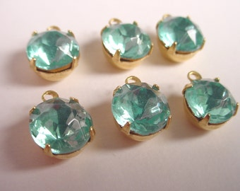 Vintage Aquamarine Round Rhinestones 8mm in Brass Prong Settings 1 Ring Closed Backs - 6 Pieces