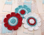 Crochet Flower Appliques in Red Aqua White