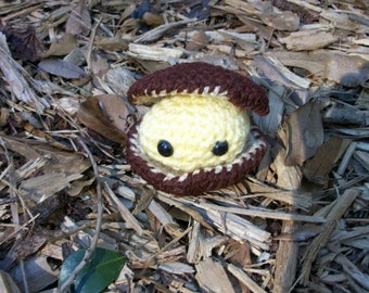 Plush Yellow Clam in a Brown Clamshell. Handmade Amigurumi Plush Clam in a Crocheted Clamshell. Seaside Stuffie Ocean Animal. Ready-to-Ship