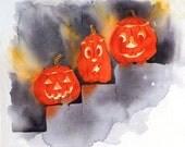 Halloween Jack O Lantern Art / Halloween Watercolor PRINT / Childs nursery wall decor / Spooky pumpkin decoration Autumn Fall colors orange