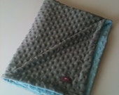 Minky Blanket- Gray and Baby Blue  35 x 30   Your second Item ships Free