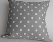 White Dot on Storm Gray Premier Prints Cotton Twill Pillow Cover