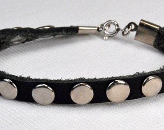 Black Leather Silver Studded Bracelet, Leather Stacking Bracelet, Edgy Rocker Jewelry, Jet Black Leather Strap Stacking Bracelet (2003)