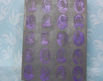 Antique Printer's Block Men's Faces Large Moustache and Beard Convention