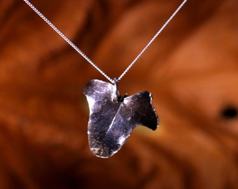 Solid Silver Ivy Leaf Necklace - Made With A Real Leaf  And Totally Unique