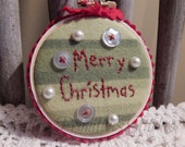 Hand Stitched Christmas Tree Ornament, Merry Christmas, Buttons  Ribbon & Faux Pearls, BICOFG