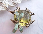 Dragonfly necklace, dragonfly jewelry Art Deco necklace yellow citrine necklace, bug filigree jewelry verdigris dragonfly pendant necklace
