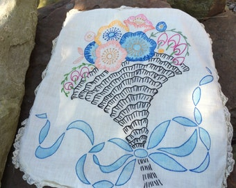 Vintage Hand EmbroideryTinted Embroidery  Pillow with Large Floral Bouquet