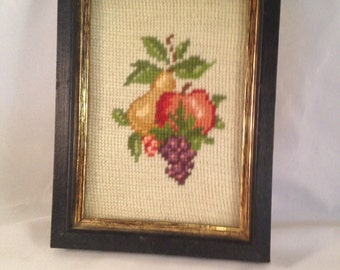 Vintage Wood Framed Fruit Needlepoint
