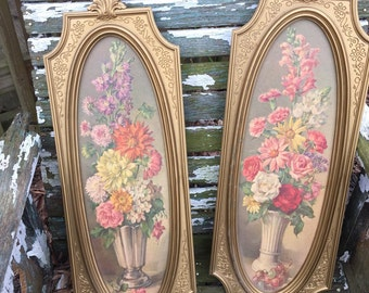 2 Vintage 1960s Beautiful Floral Framed Pictures Ornate Frames