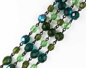 Czech Rosary Chain, Mixed Green Round Fire Polished Glass Beads, Black Link, 1 Foot, C437