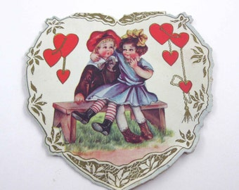 Vintage Whitney Made Fancy Antique Valentine Greeting Card with Little Girl in Blue Dress and Boy Sitting on Bench Gold Gilded